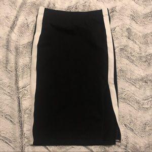 Aritzia TNA Midi Skirt XXS Black/White Stripe
